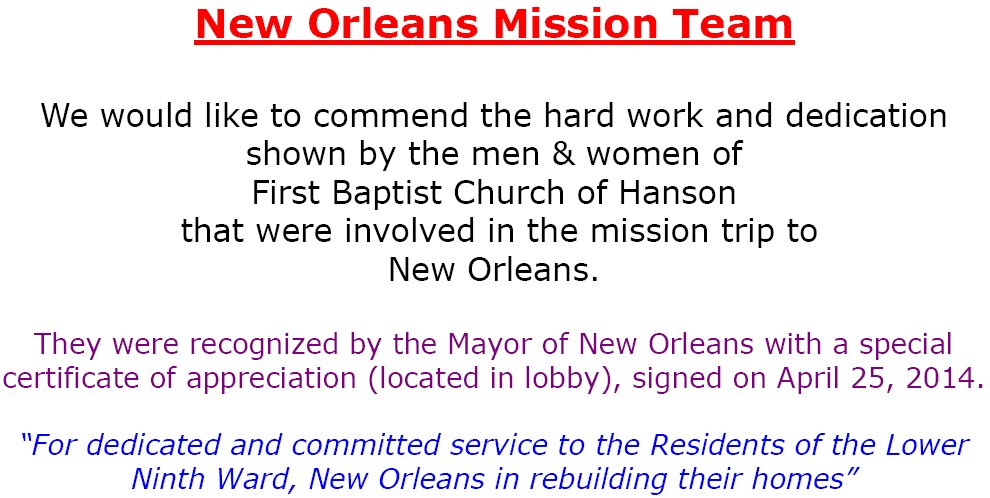 2014 New Orleans Mission Trip